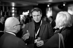 Nick Holdsworth talking with (left) Rolandas Kvietkauskas, head of Lithunian Film Centre, at Vilnius Film Festival, April 2014